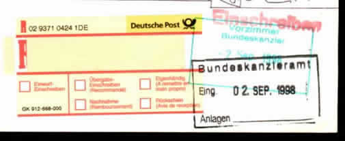 The yellow label in left is a registered mark stuck by German post
