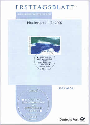 "The ""flooding"" post item issued by German post in 2002."