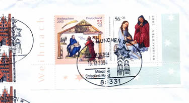 "The German stamps stuck in the envelop: ""2002 and 2003 Christmas"". The postmark is a special ""Christmas"" mark from Munchen post office on Dec. 16,2004"