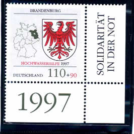 "The ODER river brust in 1997. Brandenburg state suffered pluvial hit. German post urgent issued a set stamp used a stamp former planed with the state's badge and add ""Rescue flood 1997"" and red attach value, it become a special stamp"