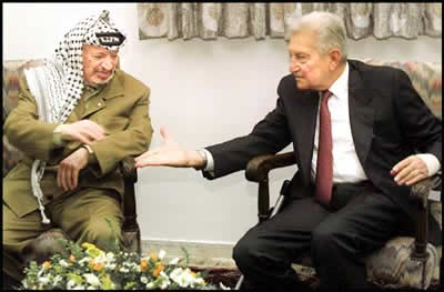 President Weizman meet Arafat on May 6,1997 in Gaza